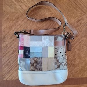 Coach Patchwork Quilt Logo Leather Suede Bag